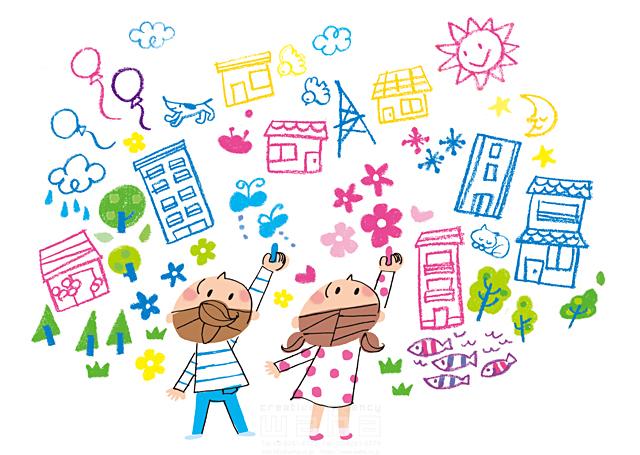 イラスト&写真のストックフォトwaha(ワーハ) 人物、女性、男性、子供、女の子、男の子、小学生、笑顔、落書き、夢、希望、想像、建物、家、雲、雨、雪、魚、犬、鳥、動物、蝶、自然、植物、花、木、風船、太陽、月、賑やか きつ まき 19-2015c