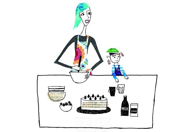 イラスト&写真のストックフォトwaha(ワーハ) 人物、女性、お母さん、母親、子供、女の子、親子、家族、団欒、ダイニング、キッチン、誕生日、お祝い、お菓子、ケーキ、料理 春日 葉子 19-2022b