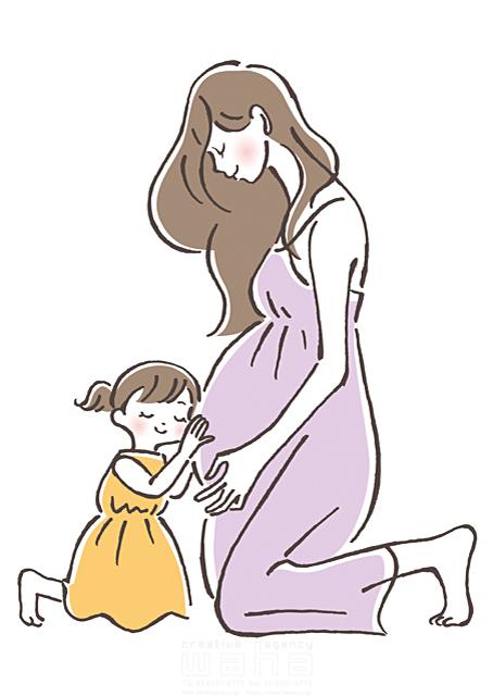 イラスト&写真のストックフォトwaha(ワーハ) 線画、人、人物、女性、大人、妊婦、妊娠、マタニティ、母親、ママ、子供、女の子、小学生、家族、親子、愛、ハート、ハートフル、リラックス、子育て、出産、笑顔 竹内舞 19-2026b
