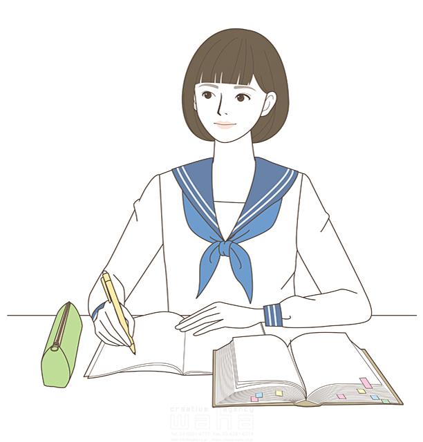 イラスト&写真のストックフォトwaha(ワーハ)―カンプデータは無料 線画、人、人物、女性、高校生、女子高生、学生、女の子、笑顔、勉強、学校、元気、成長、セーラー服、受験、授業、教室、辞書、教科書、ノート 羽室 和代 19-2029b