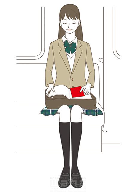 イラスト&写真のストックフォトwaha(ワーハ) 線画、人、人物、女性、高校生、女子高生、学生、女の子、笑顔、バッグ、学校、リボン、元気、成長、制服、電車、教科書、ノート 羽室 和代 19-2030b