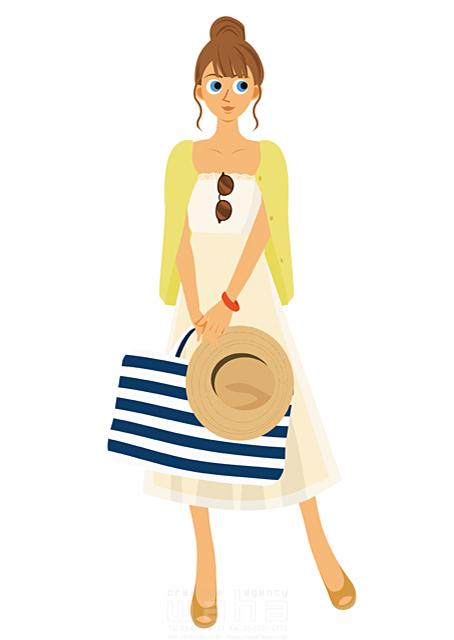イラスト&写真のストックフォトwaha(ワーハ) 人、人物、女性、大人、若者、笑顔、旅行、バカンス、バケーション、休暇、帽子、リゾート 両口 実加 19-2031b