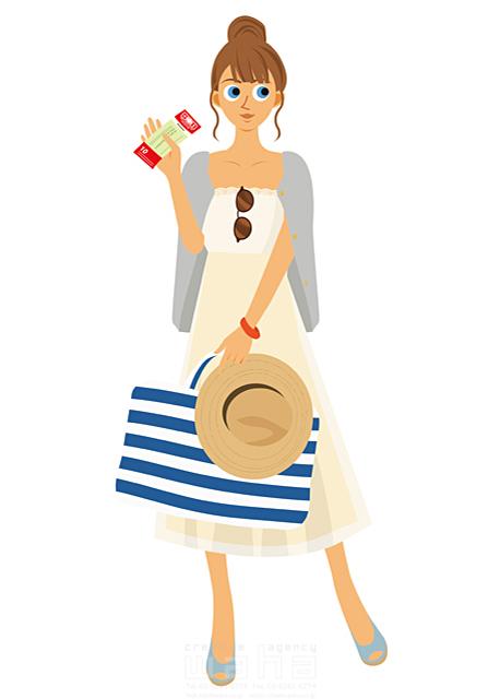 イラスト&写真のストックフォトwaha(ワーハ) 人、人物、女性、大人、若者、笑顔、旅行、バカンス、バケーション、休暇、帽子、リゾート、チケット 両口 実加 19-2032b