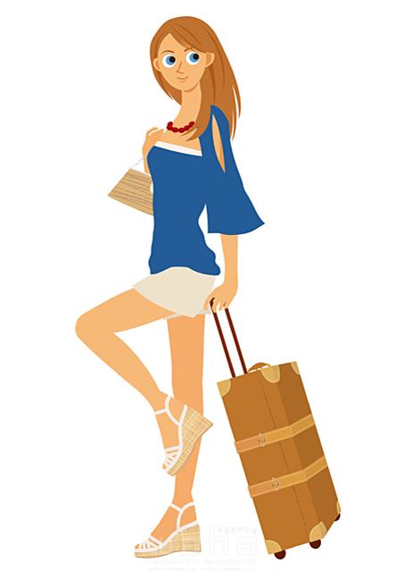 イラスト&写真のストックフォトwaha(ワーハ) 人、人物、女性、大人、若者、笑顔、旅行、バカンス、バケーション、休暇、リゾート、キャリーバッグ、サンダル 両口 実加 19-2033b
