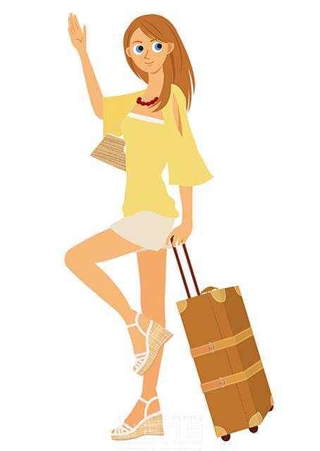イラスト&写真のストックフォトwaha(ワーハ) 人、人物、女性、大人、若者、笑顔、旅行、バカンス、バケーション、休暇、リゾート、キャリーバッグ、サンダル、挨拶 両口 実加 19-2034b