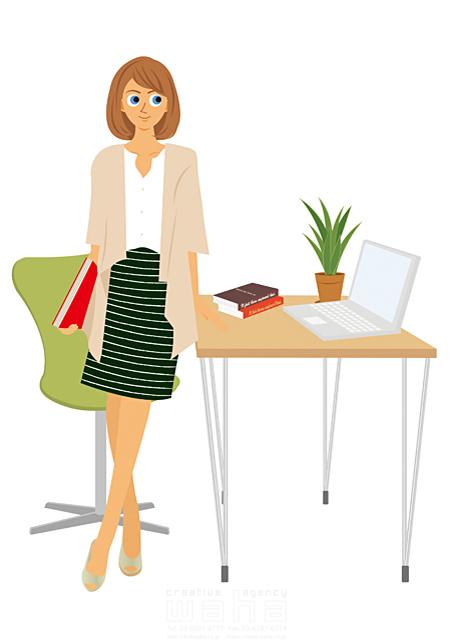 イラスト&写真のストックフォトwaha(ワーハ) 人、人物、女性、大人、若者、笑顔、仕事、ビジネス、オフィス、OL、ビジネスウーマン、キャリアウーマン、働く人、サラリーマン、パソコン 両口 実加 19-2035b