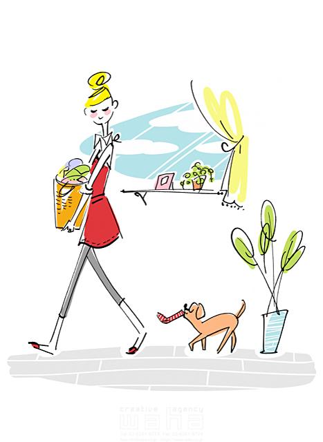 イラスト&写真のストックフォトwaha(ワーハ) 線画、人、人物、女性、大人、妻、主婦、若者、20代、30代、家事、洗濯、窓、家、住宅、犬、ペット、観葉植物 ツグヲ・ホン多 19-2041b