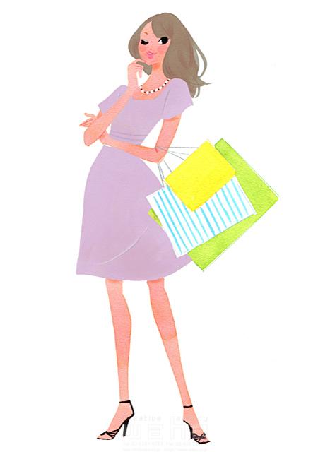 イラスト&写真のストックフォトwaha(ワーハ) 水彩、人、人物、女性、大人、若者、20代、30代、買い物、ショッピング、おでかけ、おしゃれ、ファッション、服、バッグ、ポーズ、考える、化粧、小麦色、日焼け、夏 ツグヲ・ホン多 19-2042b