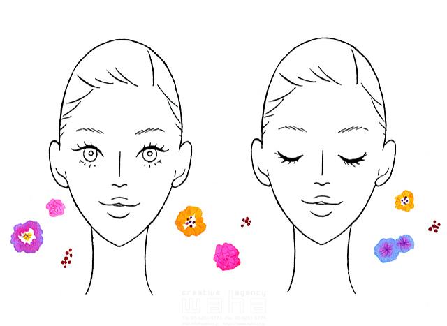 イラスト&写真のストックフォトwaha(ワーハ) 線画、人、人物、女性、大人、若者、20代、30代、イメージ、美容、エステ、小顔、美顔、女性顔、白抜き、花 ツグヲ・ホン多 19-2045b