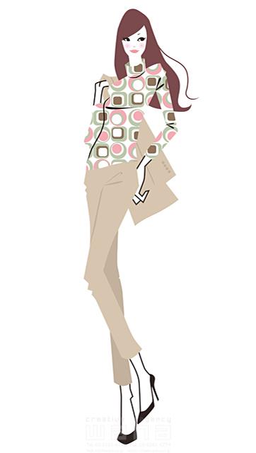 イラスト&写真のストックフォトwaha(ワーハ) 人、人物、女性、若者、大人、OL、ファッション、おしゃれ、綺麗、休日、お出かけ、買物、ショッピング、デート、バッグ、20代、30代、パンツ、春、秋 小倉 あん 19-2049b