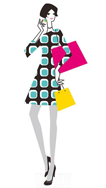 イラスト&写真のストックフォトwaha(ワーハ) 人、人物、女性、若者、大人、OL、ファッション、おしゃれ、綺麗、休日、お出かけ、買物、ショッピング、デート、バッグ、20代、30代、ショッピングバッグ、ワンピース、ブティック、夏、フェア、セール、バーゲン 小倉 あん 19-2051b