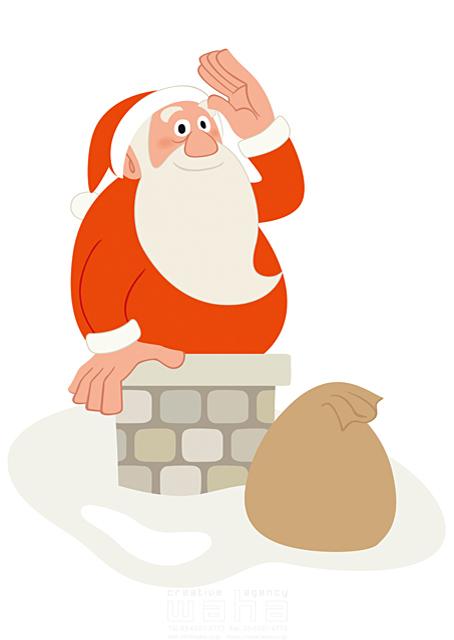 イラスト&写真のストックフォトwaha(ワーハ) 人、人物、男性、大人、シニア、中高年、おじさん、老人、おじいさん、クリスマス、サンタクロース、プレゼント、ハートフル、愛情、イベント、記念日、冬、雪、煙� 両口 和史 19-2053b