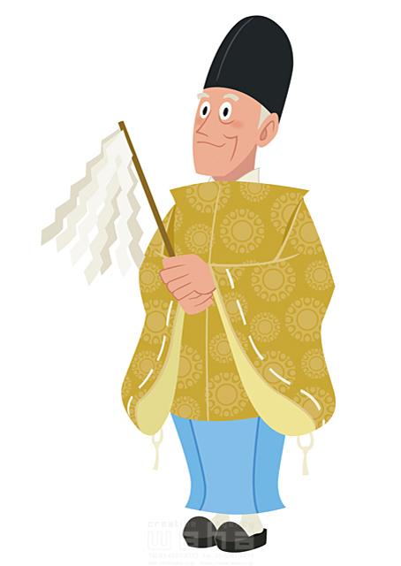 イラスト&写真のストックフォトwaha(ワーハ) 人、人物、男性、笑顔、大人、中高年、正月、元旦、お祝い、めでたい、寿、和服、着物、袴、冬、記念日、神主、神社 両口 和史 19-2054b
