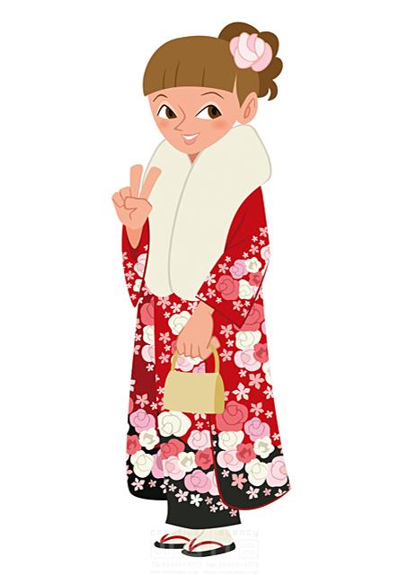 イラスト&写真のストックフォトwaha(ワーハ) 人、人物、女性、笑顔、若者、正月、元旦、お祝い、めでたい、寿、和服、着物、振り袖、晴れ着、冬、記念日、髪飾り 両口 和史 19-2056b