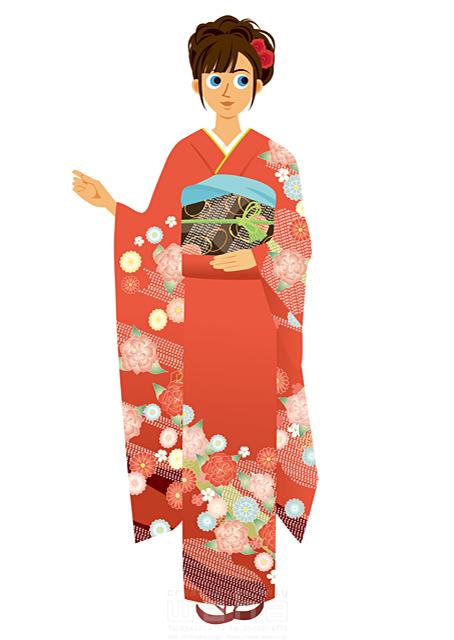 イラスト&写真のストックフォトwaha(ワーハ) 人、人物、女性、笑顔、若者、正月、元旦、お祝い、めでたい、寿、和服、着物、振り袖、晴れ着、冬、記念日、髪飾り 両口 実加 19-2058b