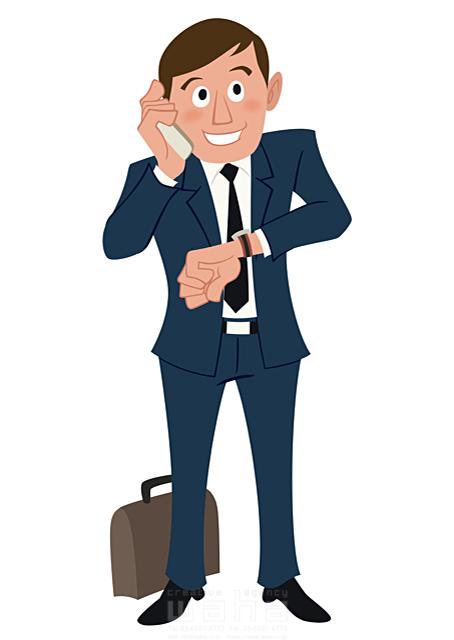 イラスト&写真のストックフォトwaha(ワーハ) 人、人物、大人、男性、スーツ、ビジネス、ビジネスマン、サラリーマン、営業、外回り、仕事、電話、スマホ、働く人、IT系 両口 和史 19-2064b
