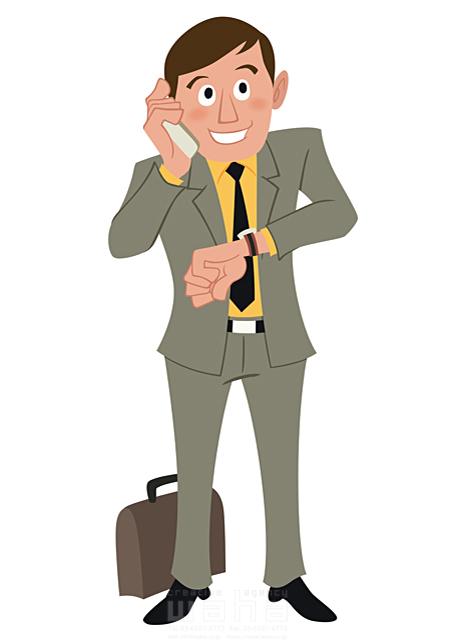 イラスト&写真のストックフォトwaha(ワーハ) 人、人物、大人、男性、スーツ、ビジネス、ビジネスマン、サラリーマン、営業、外回り、仕事、電話、スマホ、働く人、IT系 両口 和史 19-2065bv