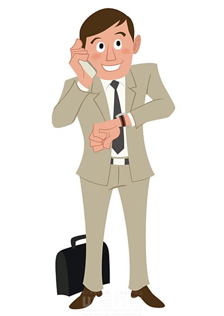 イラスト&写真のストックフォトwaha(ワーハ) 人、人物、大人、男性、スーツ、ビジネス、ビジネスマン、サラリーマン、営業、外回り、仕事、電話、スマホ、働く人、IT系 両口 和史 19-2066bv