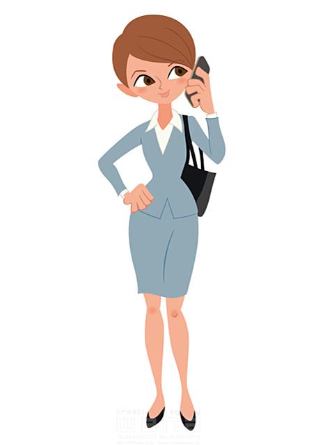 イラスト&写真のストックフォトwaha(ワーハ) 人、人物、大人、女性、スーツ、ビジネス、ビジネスウーマン、キャリアウーマン、営業、外回り、仕事、電話、スマホ、働く人、IT系 両口 和史 19-2067b