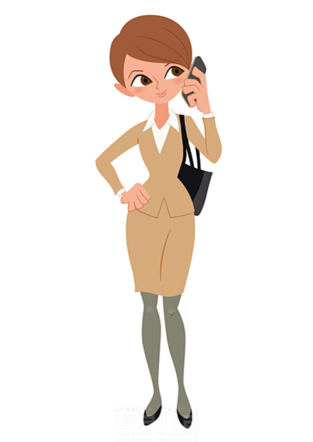 イラスト&写真のストックフォトwaha(ワーハ) 人、人物、大人、女性、スーツ、ビジネス、ビジネスウーマン、キャリアウーマン、営業、外回り、仕事、電話、スマホ、働く人、IT系 両口 和史 19-2068bv