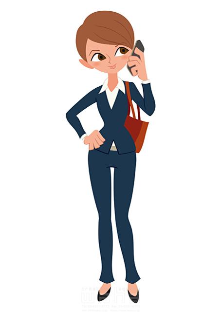 イラスト&写真のストックフォトwaha(ワーハ) 人、人物、大人、女性、スーツ、ビジネス、ビジネスウーマン、キャリアウーマン、営業、外回り、仕事、電話、スマホ、働く人、IT系 両口 和史 19-2069bv