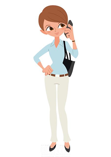 イラスト&写真のストックフォトwaha(ワーハ) 人、人物、大人、女性、スーツ、ビジネス、ビジネスウーマン、キャリアウーマン、営業、外回り、仕事、電話、スマホ、働く人、IT系 両口 和史 19-2072bv
