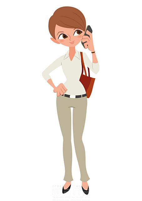 イラスト&写真のストックフォトwaha(ワーハ) 人、人物、大人、女性、スーツ、ビジネス、ビジネスウーマン、キャリアウーマン、営業、外回り、仕事、電話、スマホ、働く人、IT系 両口 和史 19-2073b