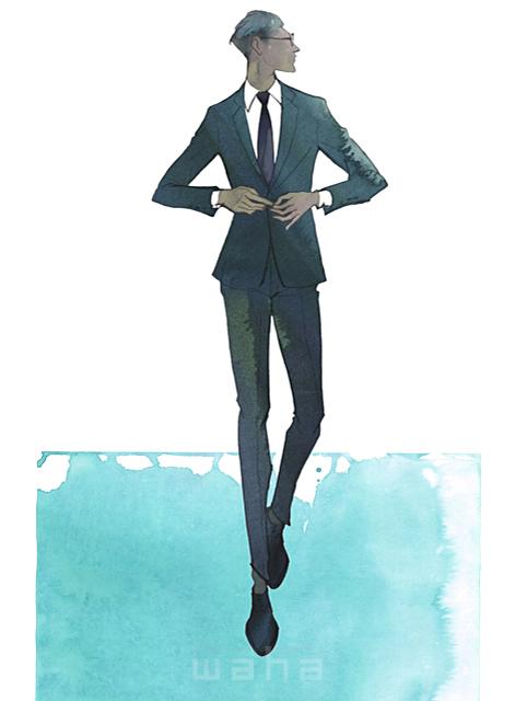 イラスト&写真のストックフォトwaha(ワーハ) 水彩、クロッキー、人、人物、男性、ビジネス、仕事、ビジネスマン、サラリーマン、スーツ、働く人、おしゃれ、クール、スマート、ネクタイ MUKU 19-2088c