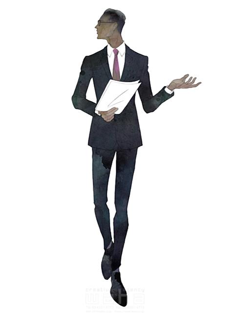 イラスト&写真のストックフォトwaha(ワーハ) 水彩、クロッキー、人、人物、男性、ビジネス、仕事、ビジネスマン、サラリーマン、スーツ、働く人、おしゃれ、クール、スマート、ネクタイ、会議、プレゼンテーション MUKU 19-2091c