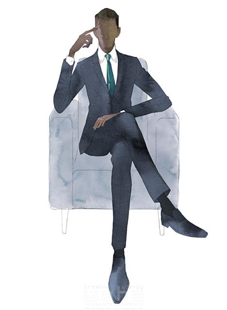 イラスト&写真のストックフォトwaha(ワーハ) 水彩、クロッキー、人、人物、男性、ビジネス、仕事、ビジネスマン、サラリーマン、スーツ、働く人、おしゃれ、クール、スマート、ネクタイ MUKU 19-2092c