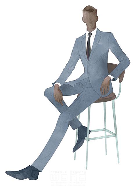 イラスト&写真のストックフォトwaha(ワーハ) 水彩、クロッキー、人、人物、男性、ビジネス、仕事、ビジネスマン、サラリーマン、スーツ、働く人、おしゃれ、クール、スマート、ネクタイ MUKU 19-2094c