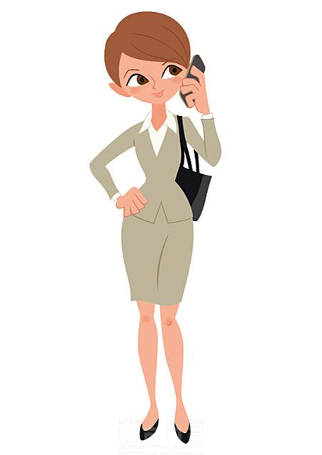 イラスト&写真のストックフォトwaha(ワーハ) 人、人物、大人、女性、スーツ、ビジネス、ビジネスウーマン、キャリアウーマン、営業、外回り、仕事、電話、スマホ、働く人、IT系 両口 和史 19-2111bv