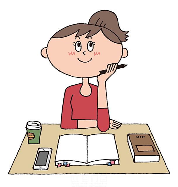 イラスト&写真のストックフォトwaha(ワーハ) 線画、キャラクター、人、人物、女性、大学生、若者、学生、勉強、学習、本、コーヒー、学校、スクールライフ、スマートフォン バーヴ岩下 19-2112b