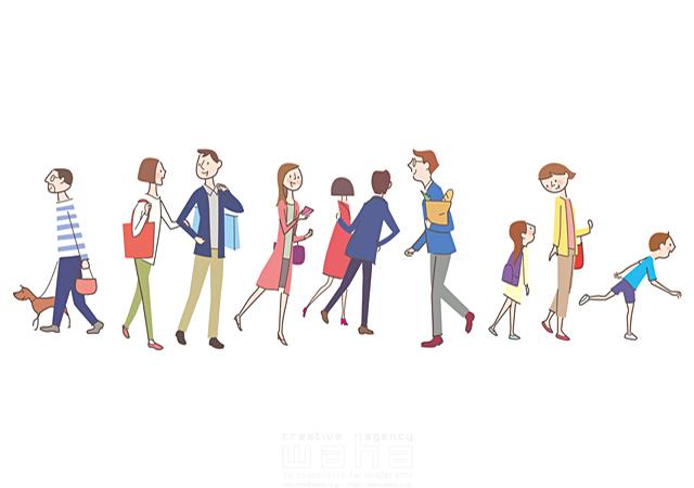 イラスト&写真のストックフォトwaha(ワーハ) 線画、人、人物、人々、集団、男性、女性、男の子、女の子、大人、子供、家族、親子、カップル、犬、ペット、散歩、ショッピング、買い物、歩く、街 飯山 和哉 19-2113c