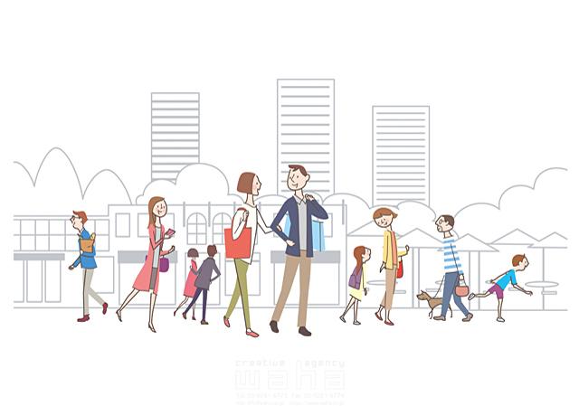 イラスト&写真のストックフォトwaha(ワーハ) 線画、人、人物、人々、集団、男性、女性、男の子、女の子、大人、子供、家族、親子、カップル、犬、ペット、散歩、ショッピング、買い物、歩く、街 飯山 和哉 19-2114cv