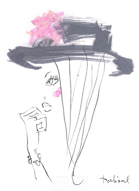 イラスト&写真のストックフォトwaha(ワーハ) 水彩、人、人物、女性、大人、若者、おしゃれ、ファッション、アパレル、モード、スタイリッシュ、横顔、帽子 レリソウル 19-2116b