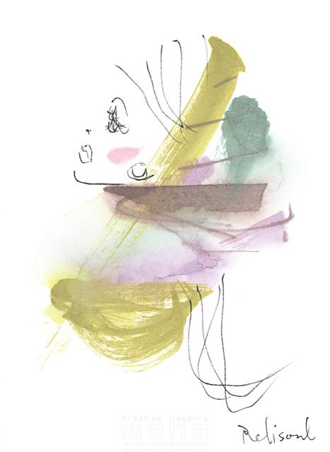 イラスト&写真のストックフォトwaha(ワーハ) 水彩、人、人物、女性、大人、若者、おしゃれ、ファッション、アパレル、モード、スタイリッシュ、横顔 レリソウル 19-2117b