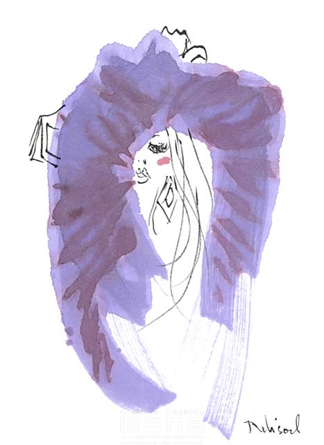 イラスト&写真のストックフォトwaha(ワーハ) 水彩、人、人物、女性、大人、若者、おしゃれ、ファッション、アパレル、モード、スタイリッシュ、顔 レリソウル 19-2118b