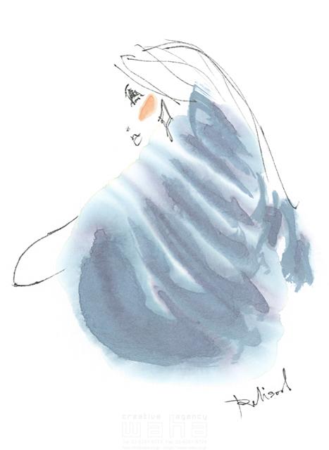 イラスト&写真のストックフォトwaha(ワーハ) 水彩、人、人物、女性、大人、若者、おしゃれ、ファッション、アパレル、モード、スタイリッシュ、横顔 レリソウル 19-2119b