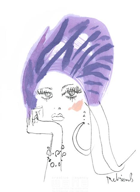 イラスト&写真のストックフォトwaha(ワーハ) 水彩、人、人物、女性、大人、若者、おしゃれ、ファッション、アパレル、モード、スタイリッシュ、顔 レリソウル 19-2120b