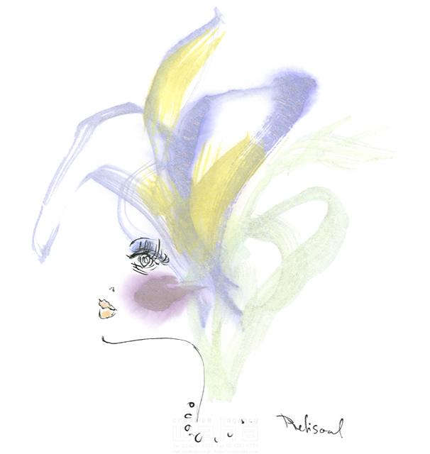 イラスト&写真のストックフォトwaha(ワーハ) 水彩、人、人物、女性、大人、若者、おしゃれ、ファッション、アパレル、モード、スタイリッシュ、横顔 レリソウル 19-2121b