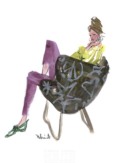 イラスト&写真のストックフォトwaha(ワーハ) 水彩、人、人物、女性、大人、若者、おしゃれ、ファッション、アパレル、モード、スタイリッシュ レリソウル 19-2126b