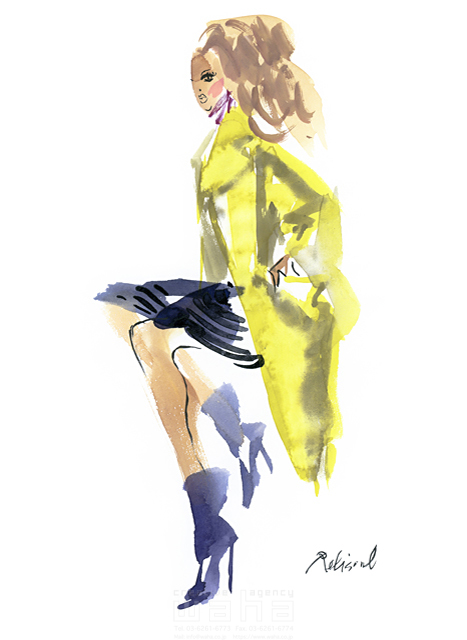 イラスト&写真のストックフォトwaha(ワーハ) 水彩、人、人物、女性、大人、若者、おしゃれ、ファッション、アパレル、モード、スタイリッシュ レリソウル 19-2129b