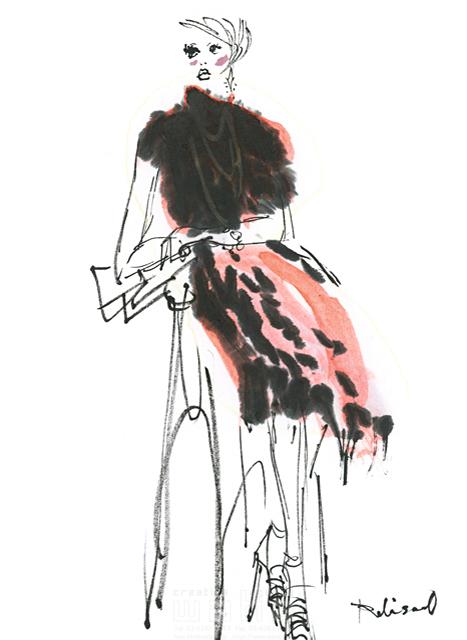 イラスト&写真のストックフォトwaha(ワーハ) 水彩、人、人物、女性、大人、若者、おしゃれ、ファッション、アパレル、モード、スタイリッシュ レリソウル 19-2131b