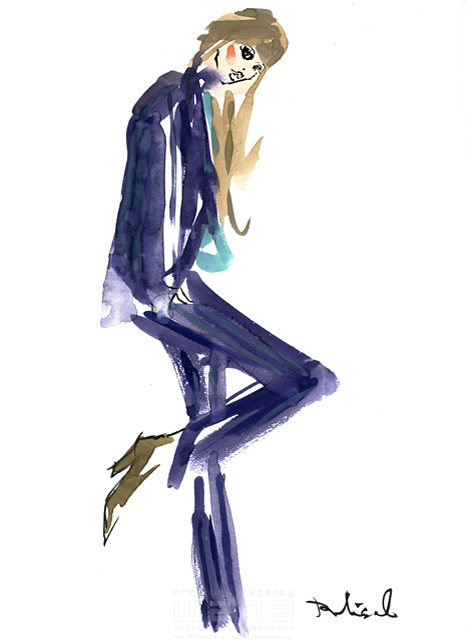 イラスト&写真のストックフォトwaha(ワーハ) 水彩、人、人物、女性、大人、若者、おしゃれ、ファッション、アパレル、モード、スタイリッシュ レリソウル 19-2136b