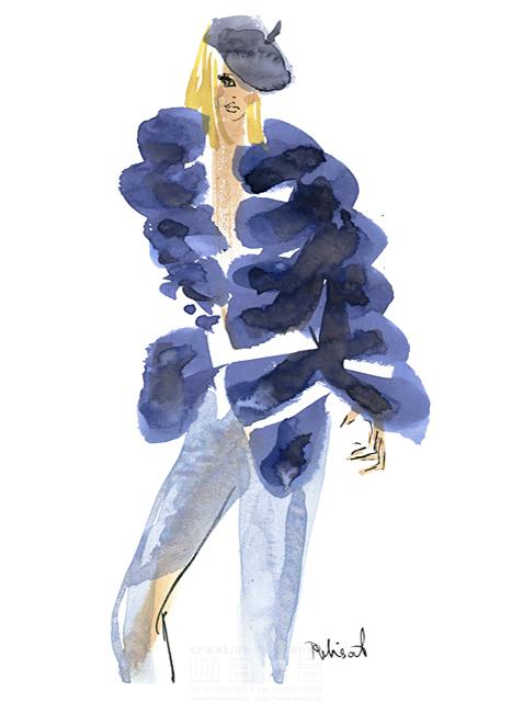 イラスト&写真のストックフォトwaha(ワーハ) 水彩、人、人物、女性、大人、若者、おしゃれ、ファッション、アパレル、モード、スタイリッシュ、帽子 レリソウル 19-2137b
