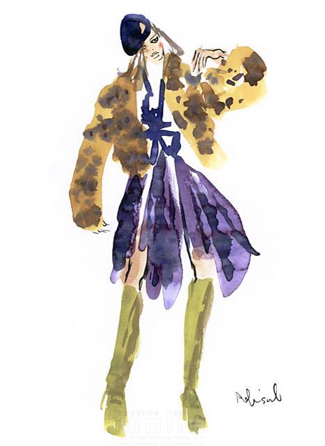 イラスト&写真のストックフォトwaha(ワーハ) 水彩、人、人物、女性、大人、若者、おしゃれ、ファッション、アパレル、モード、スタイリッシュ、帽子 レリソウル 19-2138b