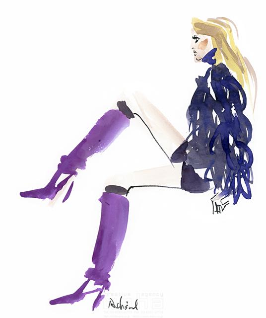 イラスト&写真のストックフォトwaha(ワーハ) 水彩、人、人物、女性、大人、若者、おしゃれ、ファッション、アパレル、モード、スタイリッシュ レリソウル 19-2139b