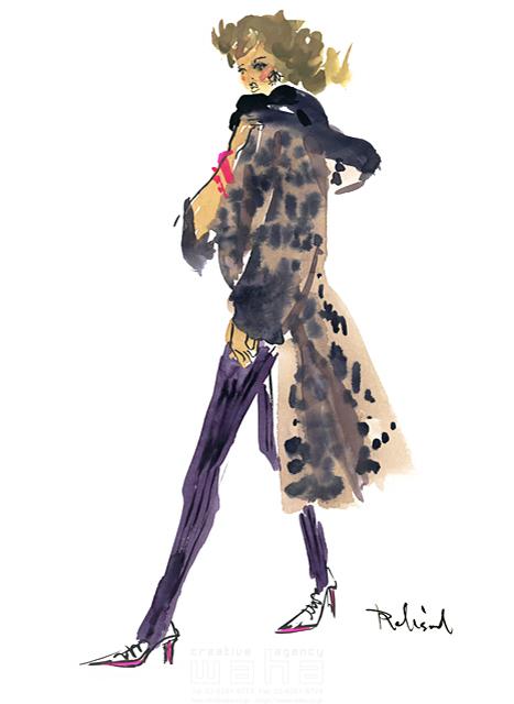 イラスト&写真のストックフォトwaha(ワーハ) 水彩、人、人物、女性、大人、若者、おしゃれ、ファッション、アパレル、モード、スタイリッシュ レリソウル 19-2146b