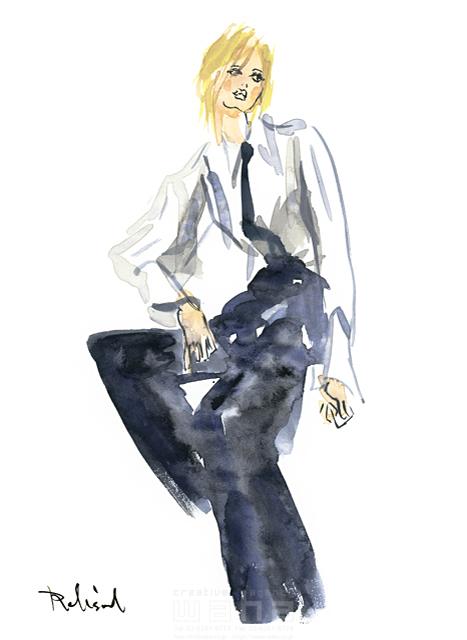 イラスト&写真のストックフォトwaha(ワーハ) 水彩、人、人物、女性、大人、若者、おしゃれ、ファッション、アパレル、モード、スタイリッシュ レリソウル 19-2147b